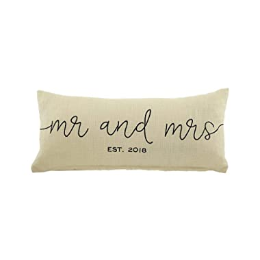 Mud Pie Mrs. 2018 Lumbar Decorative Accent Pillow, One Size, Off White