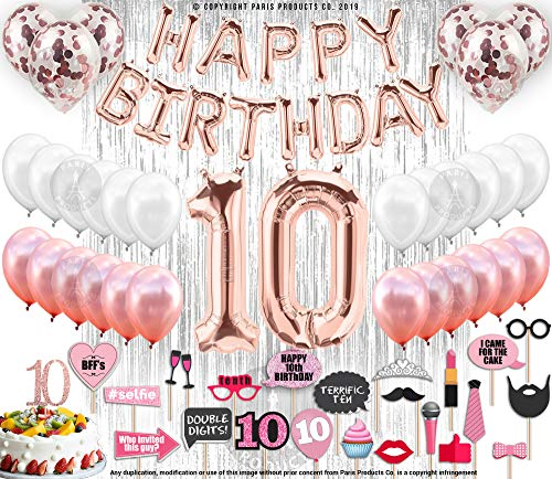 10th Birthday Decorations, 10 Birthday Party Supplies|10 Cake Topper Rose Gold| Happy Birthday Banner| Confetti Balloons for Girls Silver Curtain Backdrop Props or Photos 10th Ten Bday