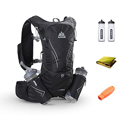 TRIWONDER 15L Ultra Running Vest Marathon Backpack Hydration Pack with Water Bottles (Black - with