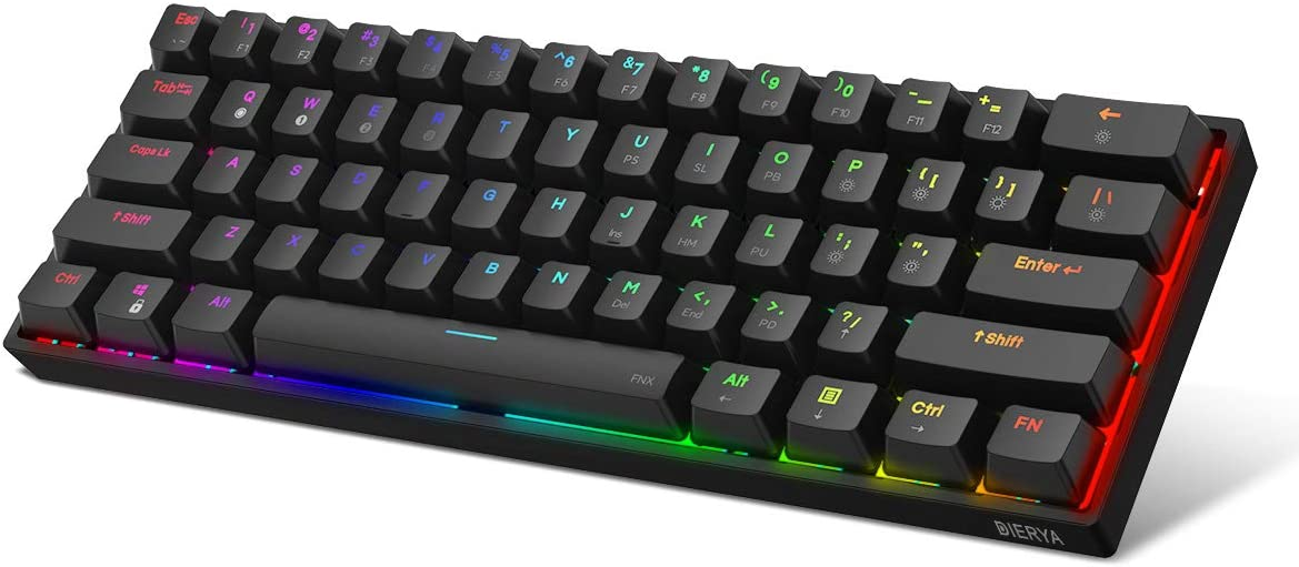 DIERYA DK61E 60% Mechanical Gaming Keyboard, RGB Backlit Wired PBT Keycap Waterproof Type-C Mini Compact 61 Keys Computer Keyboard with Full Keys Programmable (Gateron Optical Red Switch)