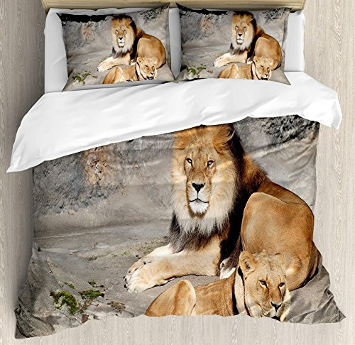 (USOPHIA Zoo 4 Pieces Bed Sheets Set Full Size, Male and Female Lions Basking in the Sun Wild Cats Habitat King of Jungle Floral Duvet Cover Set, Light Brown Grey Yellow)