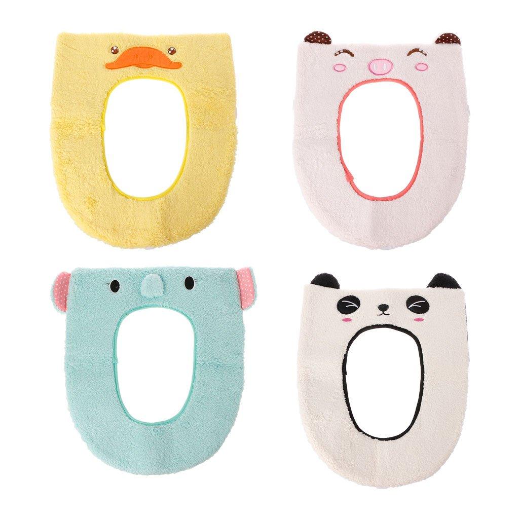 Bduco Cute Warm Soft Toilet Seat Cover Pad Mat Bathroom Washable Toilet Mat Closestool Protector Cushion Bathroom Accessories (White)