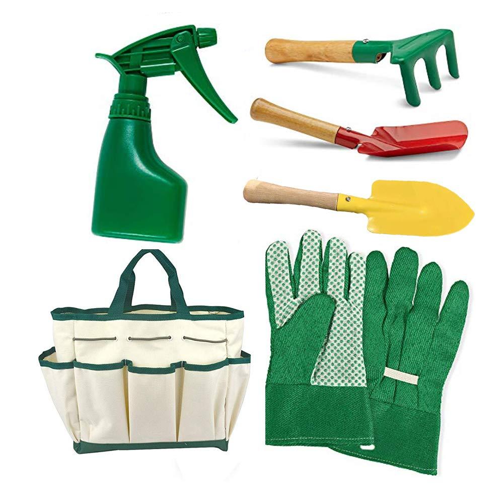 Kids Gardening Tools Set Garden Hand Rake Toddlers Garden Gloves Kit for Real or Sand Gardening