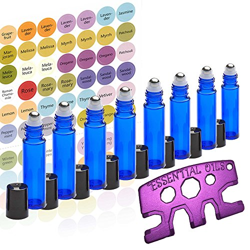 Essential Oil Roller Bottles Set with Stainless Steel Balls, 8 Pack 10ml Dark Blue Leakproof Glass Bottle with 8 Rollerballs for Perfume & Aromatherapy Oils - Free Metal Roller Opener & 192 Labels