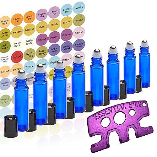 8 Glass Stainless Steel Roller Bottles 8 Pack Cobalt Blue 10ml - Free Roller Bottle Opener & 192 Essential Oil Bottle Sticker Labels