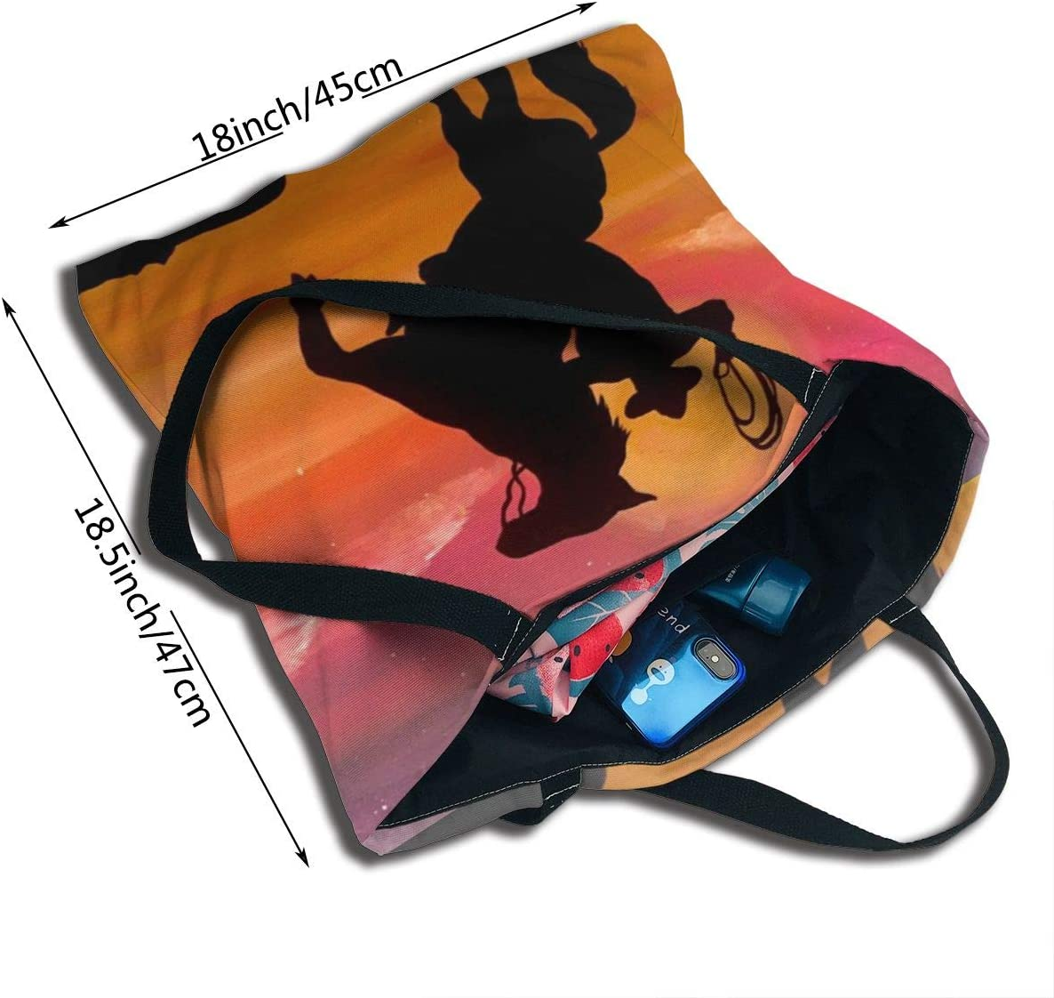 PengMin Silhouette of Cowboy Riders in Sunset Fashion Womens Multi-Pocket Vintage Canvas Handbags Miniature Shoulder Bags Totes Purses Shopping Bags