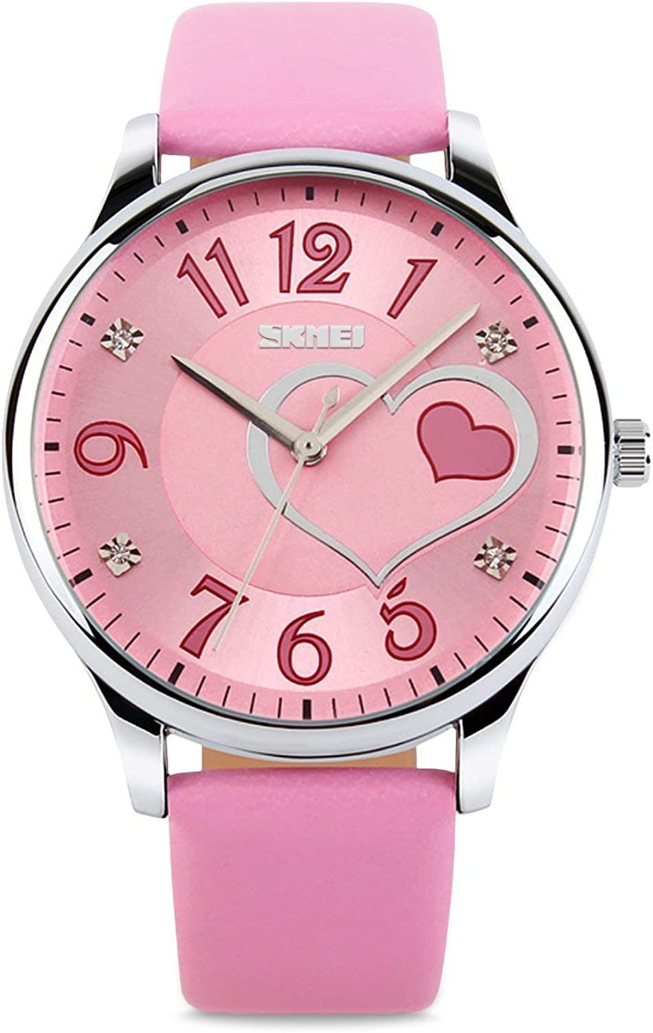 IJAHWRS Girls Analog Watch, Fashion Lady Quartz Wrist Watch Leather Strap Big Face Fun Cute Watches with Lovely Heart Shape Water Resistant - Pink