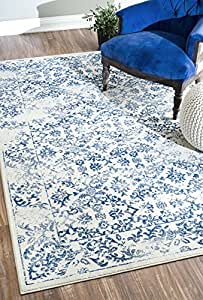 nuLOOM 200CFDO02A-5308 Modern Vintage Abstract Blue Rug (5-Feet 3 X 8-Feet)