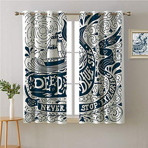 Jinguizi Nautical Grommet Curtain for Living Room,Classic Art with Ship Whale Lettering Deep Blue Sea Never Stop Exploring,Night Darkening Curtains,96W x 72L
