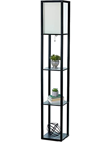 0d65bb1e46 Simple Designs Home LF1014-BLK Etagere Organizer Storage Shelf Linen Shade Floor  Lamp, Black
