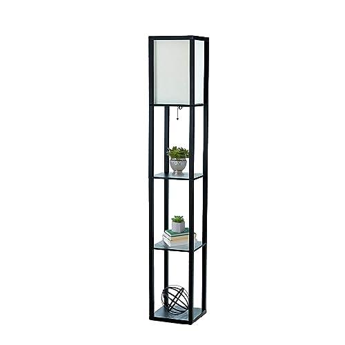 Simple Designs Home LF1014 BLK Etagere Organizer Storage Shelf Linen Shade Floor Lamp 2