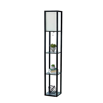 Merveilleux Simple Designs LF1014 BLK Floor Lamp Etagere Organizer Storage Shelf With  Linen Shade, Black