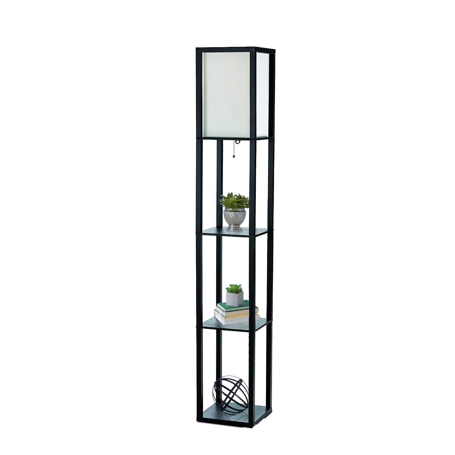Simple Designs Home LF1014-BLK Etagere Organizer Storage Shelf Linen Shade Floor Lamp, Black by Simple Designs Home (Image #1)
