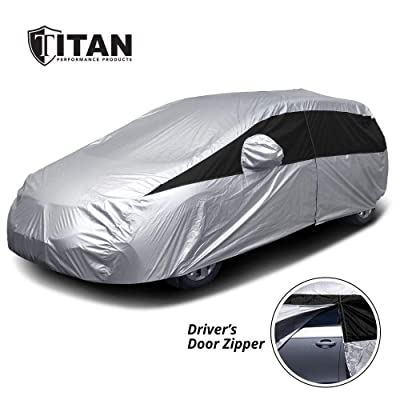 Titan Lightweight Car Cover. Mid-Size Hatchback. Fits Toyota Prius, Mazda 3, Ford Focus, and More. Waterproof Cover Measures 181 Inches, Includes a Cable and Lock and Driver-Side Door Zipper.: Automotive