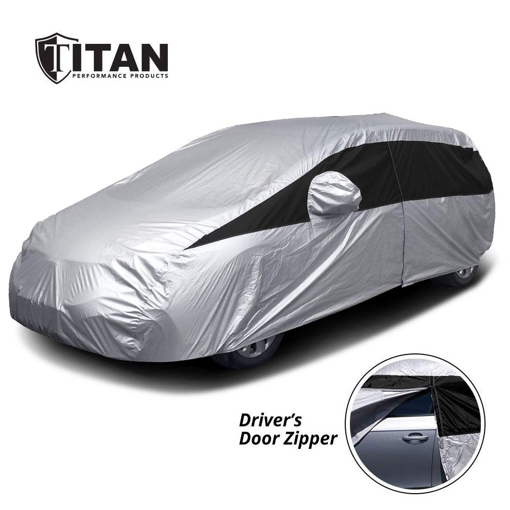 Titan Lightweight Car Cover. Mid-Size Hatchback. Fits Toyota Prius, Mazda 3, Ford Focus, and More. Waterproof Cover Measures 181 Inches, Includes a Cable and Lock and Driver-Side Door Zipper. by Titan Performance Products