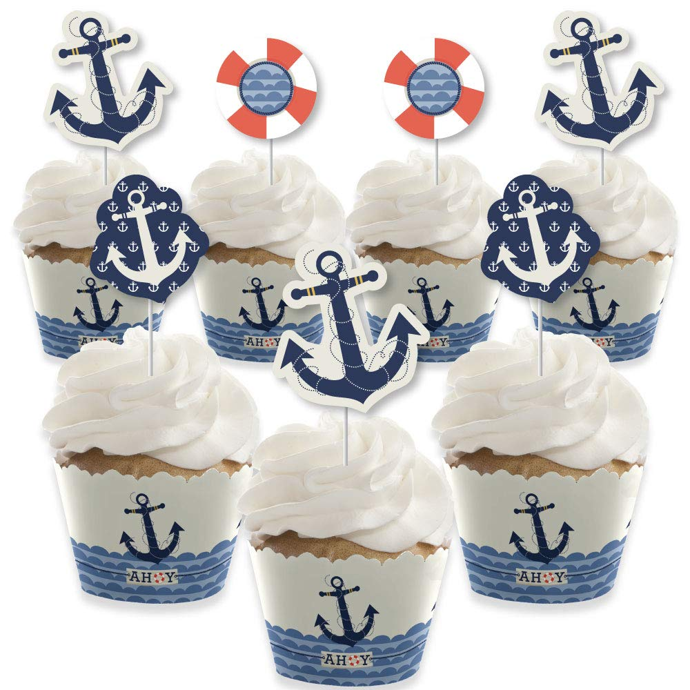 Ahoy - Nautical - Cupcake Decoration - Baby Shower or Birthday Party Cupcake Wrappers and Treat Picks Kit - Set of 24 by Big Dot of Happiness