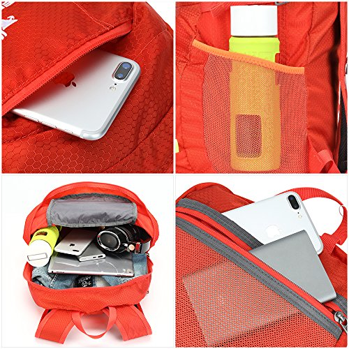 NEEKFOX Lightweight Packable Travel Hiking Backpack Daypack,35L Foldable Camping Backpack,Ultralight Outdoor Sport Backpack (03.Orange) by NEEKFOX (Image #4)