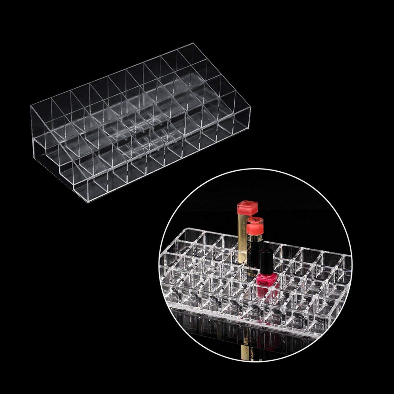 Liobaba Transparent 36 Grid Lipstick Holder Acrylic Cosmetic Organizer Lipsticks Display Rack Portable Makeup Storage Box