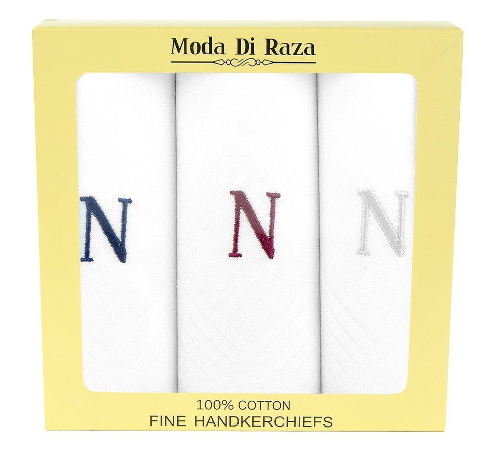Moda Di Raza - Men's Cotton Monogrammed Handkerchiefs Initial Letter Hanky - N