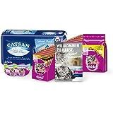 Whiskas & Catsan Kitten Pack für Junior-Katzen mit Nassfutter, Trockenfutter, Katzensnacks & Katzenstreu - Katzenbox speziell für Kätzchen, 1er Pack (1 x 7,7 kg)