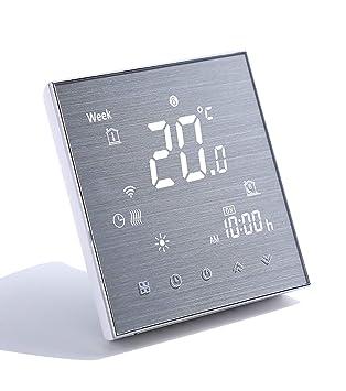 Qiumi Termostato WiFi inteligente controlador de temperatura para calefacción por suelo radiante eléctrico funciona con Amazon Alexa Google Home 16A ...