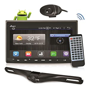 Android Stereo Receiver & Dual Camera System, HD DVR Dash Cam, Rearview Backup Camera, 7'' Touchscreen Tablet-Style Functionality Display, Wi-Fi Web Browsing, App Download, Compatible with Bluetooth
