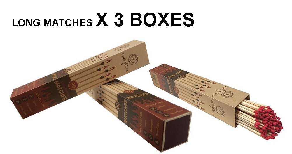 Ecolighters - Long Fireside Matches x 3 Packs for Lighting Real Fires, Stove, BBQ, Fireplaces, Open Fires Advanced Ideas Ltd