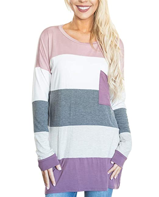 cc24e8d964 Koitmy Women's Long Sleeve Tops Color Block Striped Tunic T Shirts Casual  Blouses Tees with Pocket at Amazon Women's Clothing store: