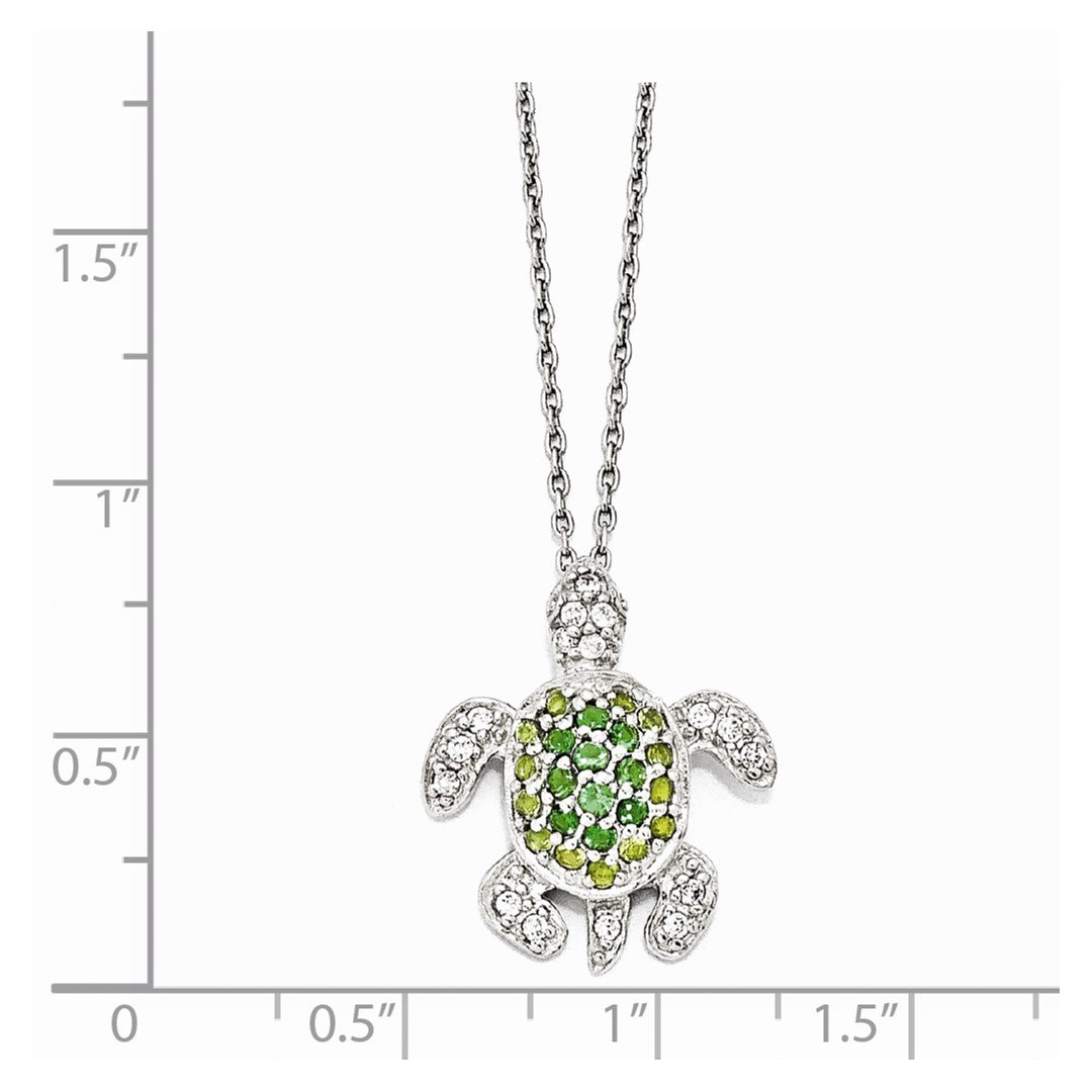 ICE CARATS 925 Sterling Silver Glasssimulatedperidot/simulatedemeralz Turtle 18in. Chain Necklace Pendant Charm Cz Sea Life Fine Jewelry Ideal Gifts For Women Gift Set From Heart by ICE CARATS (Image #3)