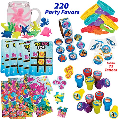 Under the Sea Party Favors for 12 Kids | Shark, Mermaid, Luau, Ocean Theme Party Supplies | Bracelets, Sea Life Stampers, Shark Tattoos, Ocean Animal Stickers, Sealife Puzzle and Tic-Tac-Toe Games, Water Growing Sea Creatures for Goody Bags -