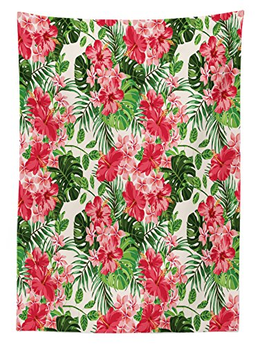 Floral Tablecloth by Ambesonne, Tropical Botanic Flowers Leaves Ivy Island Hawaiian Image, Dining Room Kitchen Rectangular Table Cover, 60W X 90L Inches, Dark Coral Hunter Green Jade Green