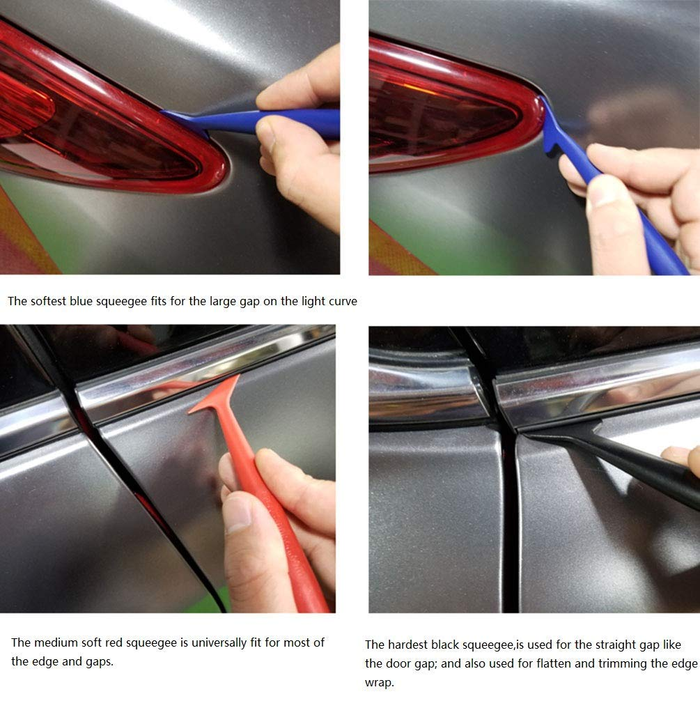 Vinyl Car Wrapping Flexible Micro Squeegee Curves Slot Tint Tool Set 5 in 1 with Different Hardness for Installing Vehicle Wraps and Auto Stickers