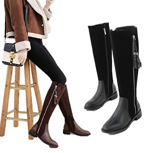4d0b4d589ea TONMOON Tassel Boots Fringed Long Boots Over The Knee Side Zipper Flat with  Velvety High Above Knee Leather Winter Simple Fashion  Buy Online at Low  Prices ...