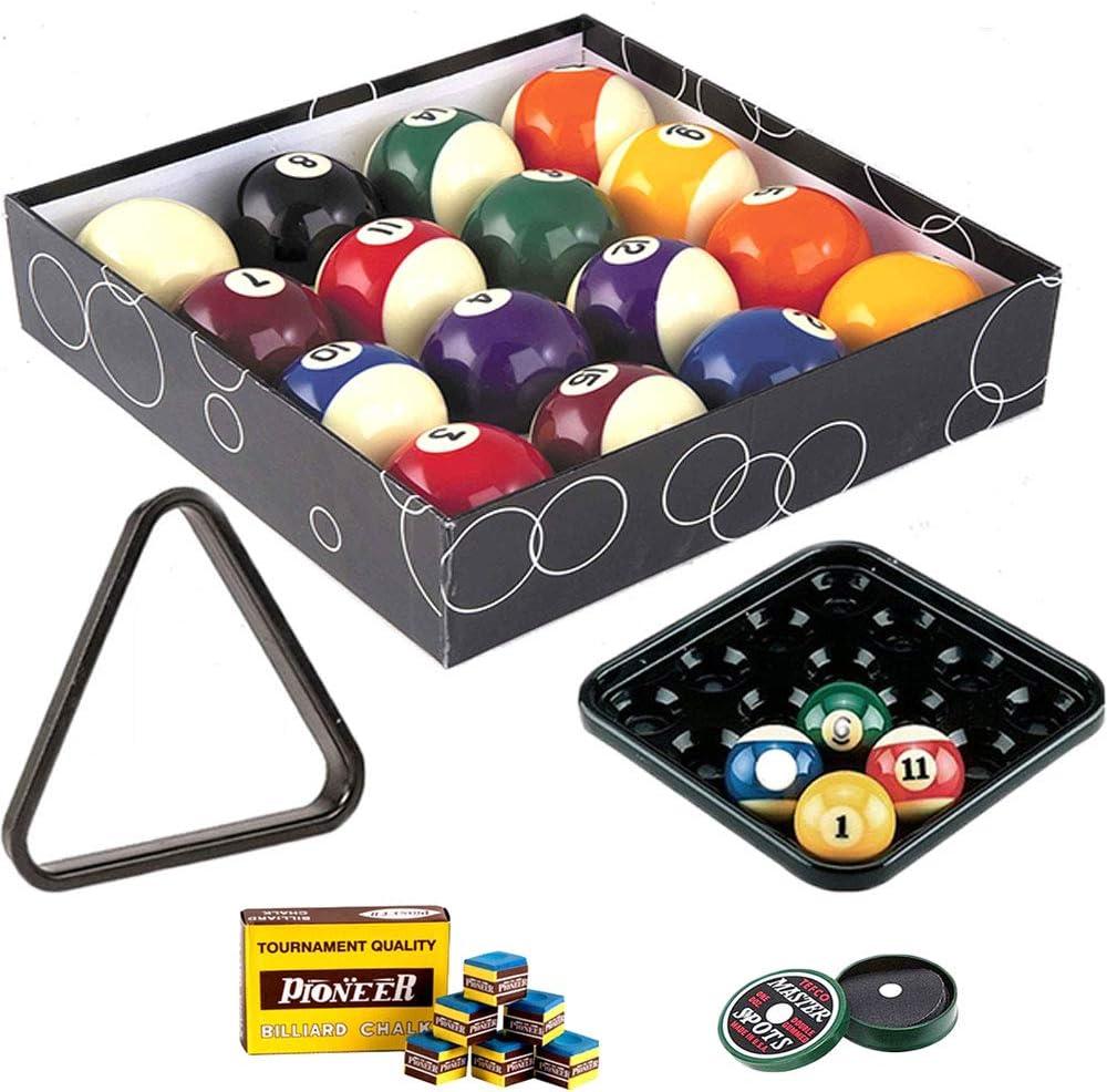 Canicas Billar Pool. Juego Bilie oah diámetro mm.57,2. 15 Bolas numeradas y una blanca baqueta, con bandeja, Triángulo. Caja tiza para taco de regalo.: Amazon.es: Deportes y aire libre