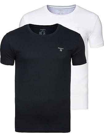 466c239fdd56 Gant 2-Pack Crew-Neck T-Shirts, Black/White: Amazon.co.uk: Clothing