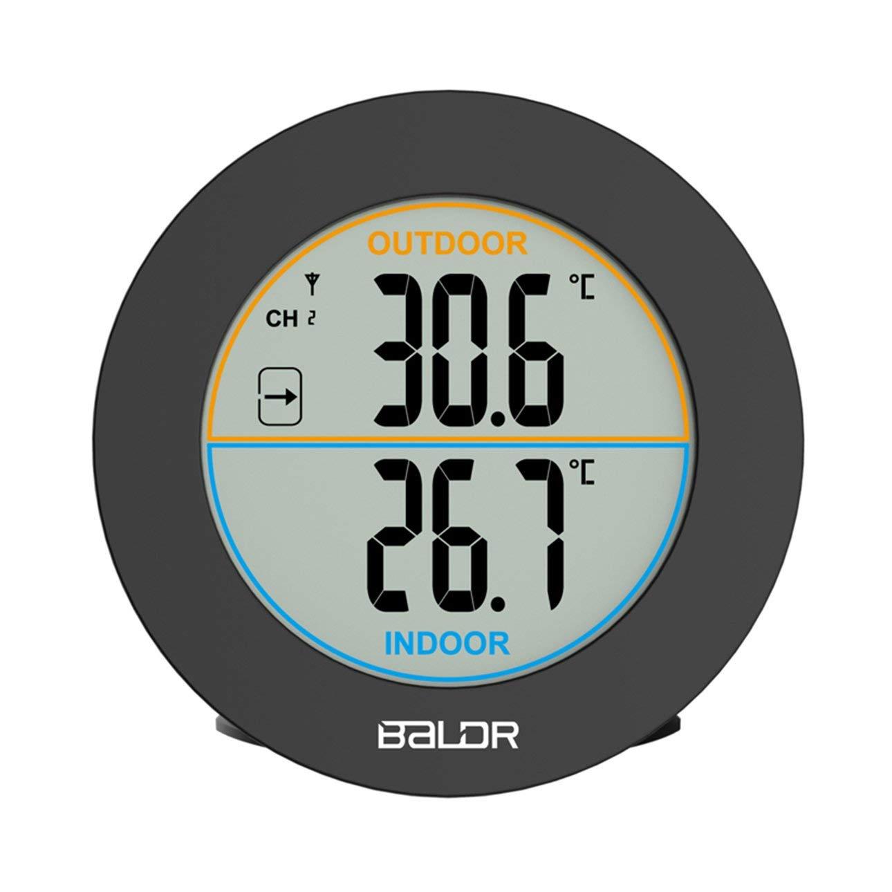 Pudincoco Baldr Forme Ronde Thermom/ètre sans Fil Table Int/érieur Ext/érieur Affichage LCD Affichage Num/érique Mur Temp/érature Capteur B0127T2