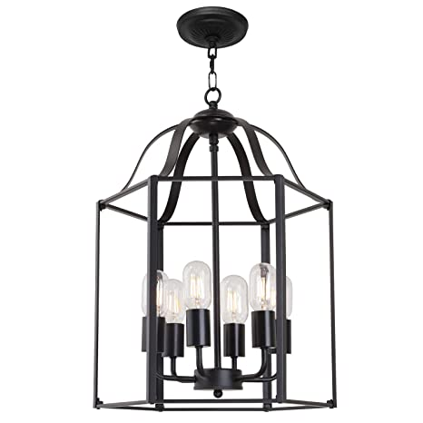 Tuluce 6 Light Modern Farmhouse Foyer Pendant Light Black Retro Industrial Style Cage Chandeliers Adjustable Height Vintage Hanging Cage Ceiling