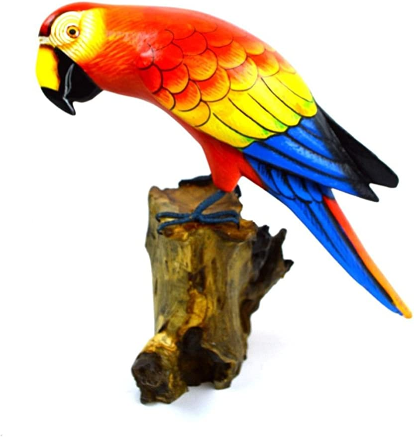 Hand Carved Cockatoo or Parrot on a Wooden Stand BNWT