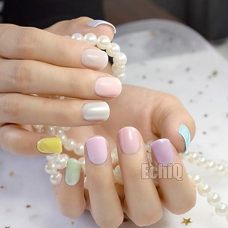 EchiQ 240 piezas de uñas postizas de color caramelo, cortas ...