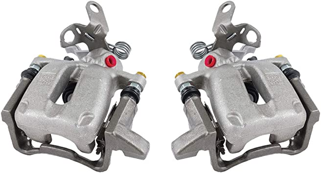 Ceramic Brake Pads 8 FRONT 4 Pad Sensors Kit REAR Quiet Low Dust Premium Grade Semi-Loaded OE Caliper