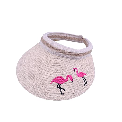 YueLian Women s Large Brim Flamingo Outdoor Summer Sun Straw Hats Visor  (Beige) 41e2d2698d