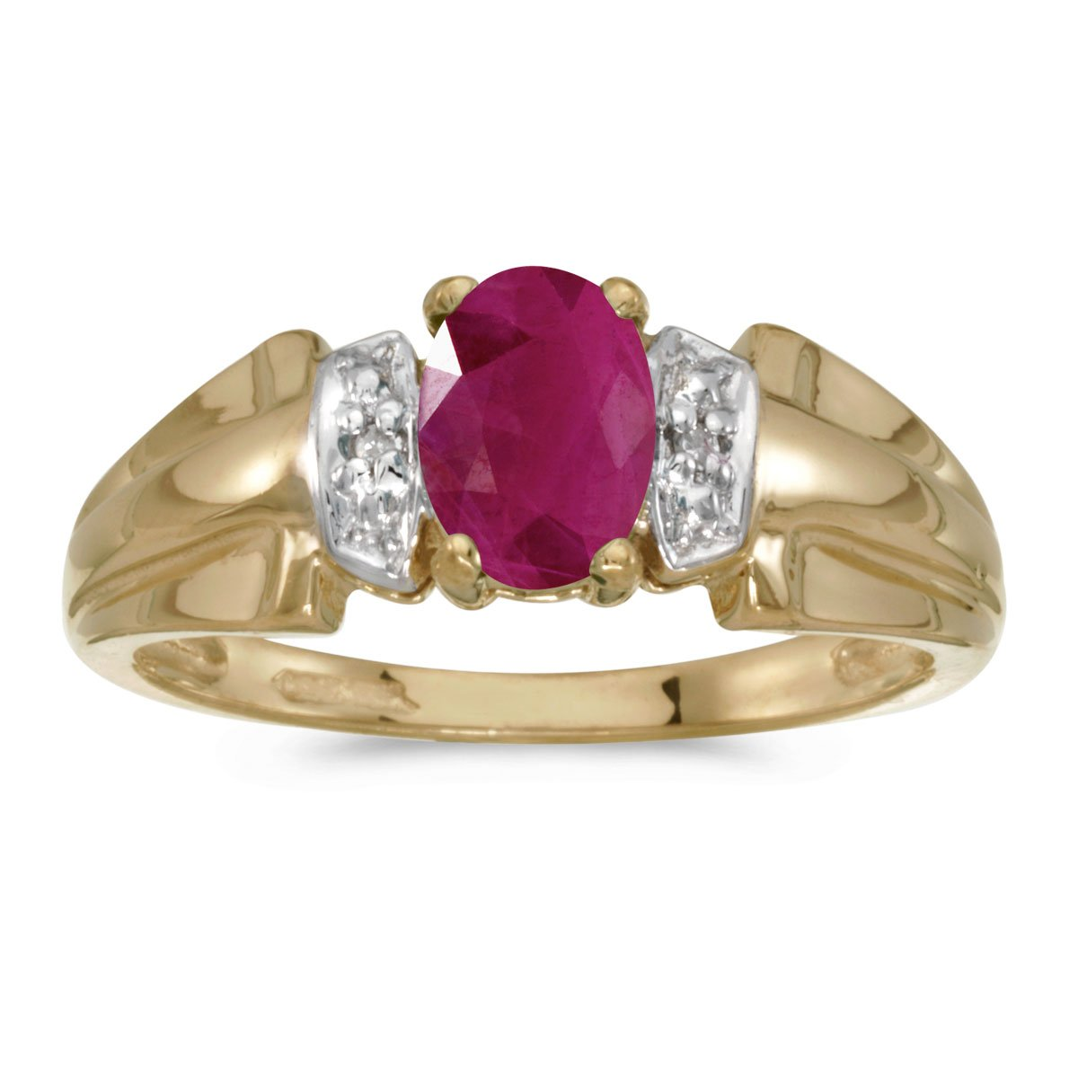 10k Yellow Gold Oval Ruby And Diamond Ring (Size 10)
