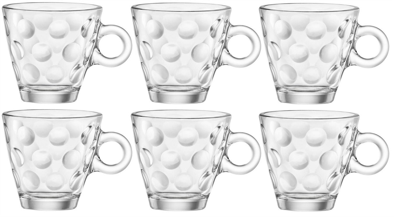 Bormioli Rocco 1316210 Dotted Glass Espresso Cup without Saucer, 10 cl, Pack of 6 Pengo