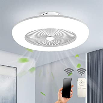 Lixada Ceiling Fan With Led Lighting Light Adjustable Wind Speed Dimmable With Remote Control 32 W Modern Led Ceiling Light For Bedroom Living Room Dining Room White 55cm Amazon De Beleuchtung