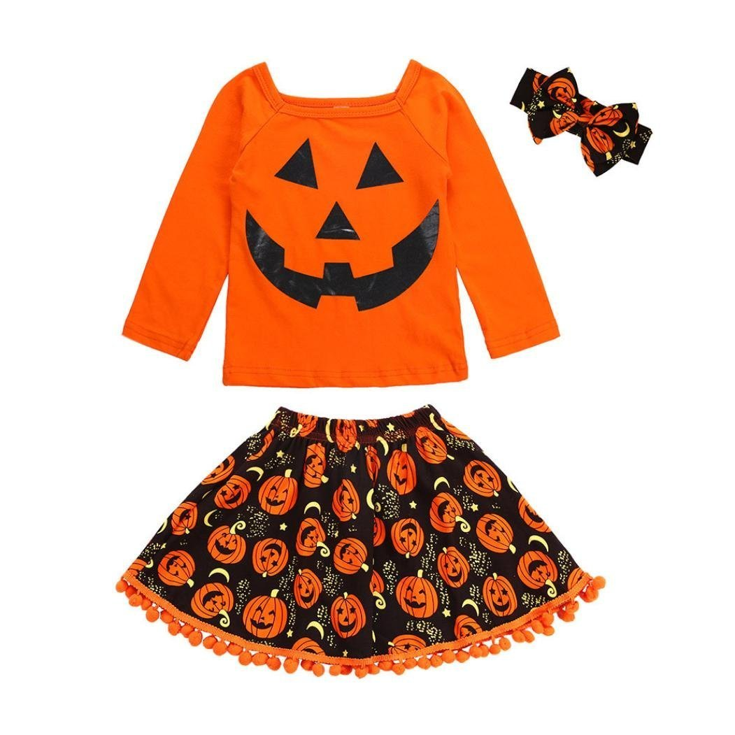 Halloween Skirt Costume Outfits Kids Baby Girls Cartoon Shirt and Dress Aline