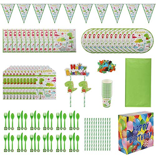 Dinosaur Party Supplies for Boys | Birthday Party Favors for Kids | Dino Themed Party Decoration Set Serves 12 Includes Tablecloth Bunting Flatware Plates Napkins Cups Straws Invitations with Gift Box