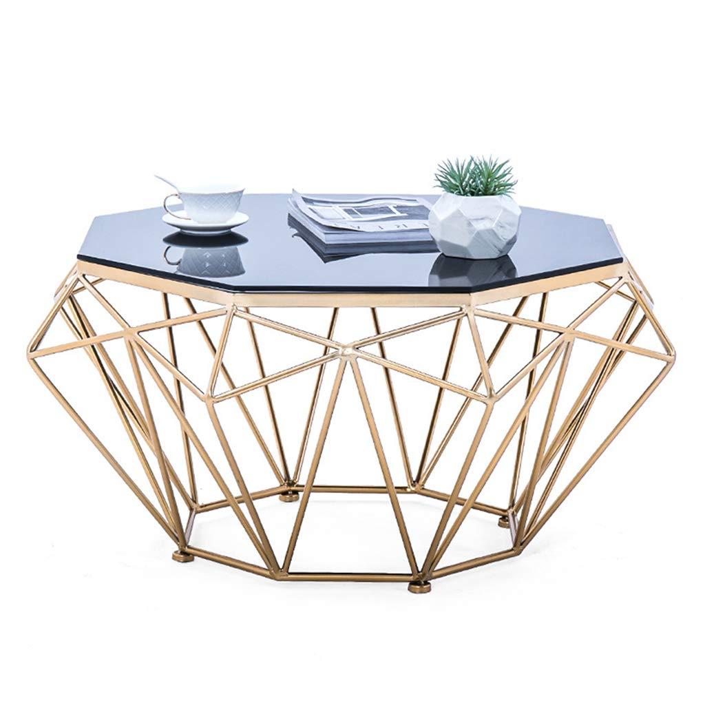 ラウンドコーヒーテーブル/サイドテーブル、強化ガラストップと金属のバスケットバー/ダイニングキッチンテーブル、家のソファエンドテーブル、リビングルームの家具の装飾 B07T4TRT8M A 57×57×45cm