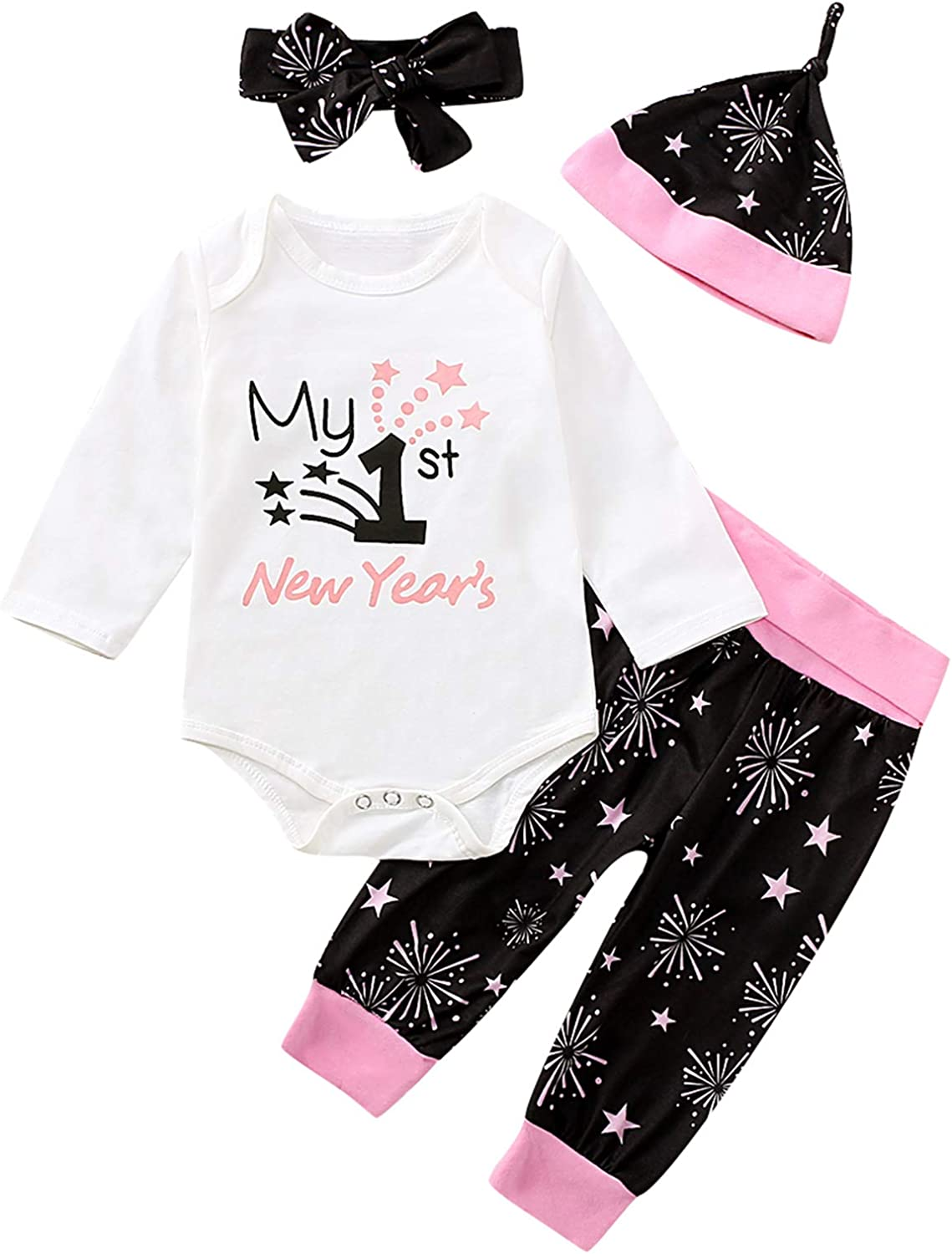 Amazon Com Aslaylme Baby Girl My 1st New Year S Outfit Set Cute First New Year Pant Set Clothing