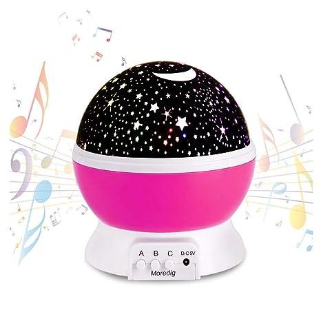 Bebé Luz nocturna musical USB recargable 4 modos Proyector estrella con luz cálida Romántico Cosmos giratorio Cielo estrellado Proyección de luna para ...