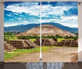 Cheap Ambesonne Mesoamerican Decor Collection, Pyramids Of Sun And Moon On The Avenue Of The Dead Historic Cultural City, Living Room Bedroom Curtain 2 Panels Set, 108 X 84 Inches, Blue Green Camel